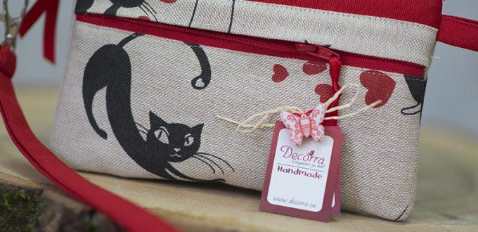 Дамско клъч портмоне от плат черни котки