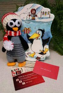 Коледен комплект плетен пингвин и Коледно пано за стена с пингвин