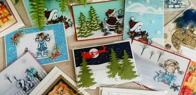 Коледни и Новогодишни картички с обемна визия ръчна изработка