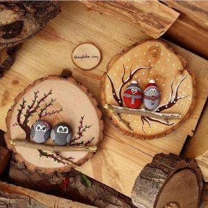 Как да си направим декорация с дърво и бухали от камък