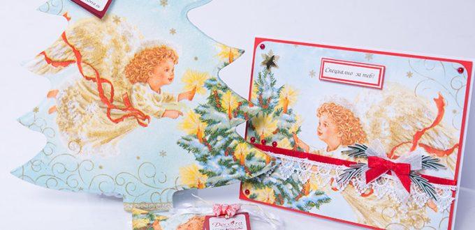 Докоснати от ангели- пано за стена ангелче, картичка с ангелче, свещ с аромат и форма ангелче