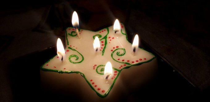Ръчно изработена свещ с шест пламъка